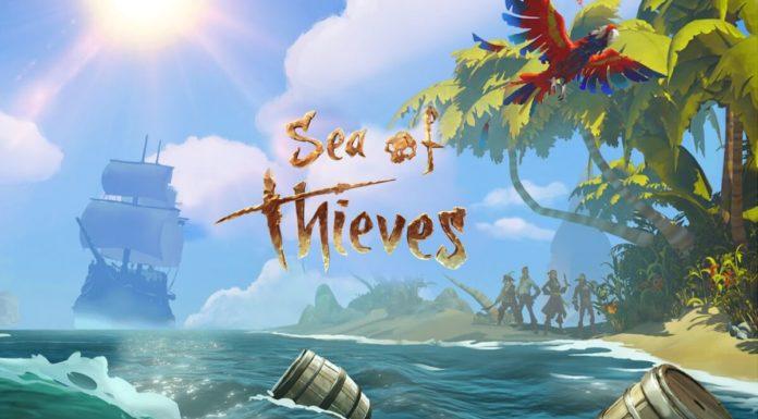 Постер игры Sea of Thieves.Корабль,пляж и пальмаю