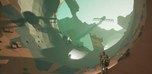 Постер игры Astroneer. Космическая пещера с астронавтом.